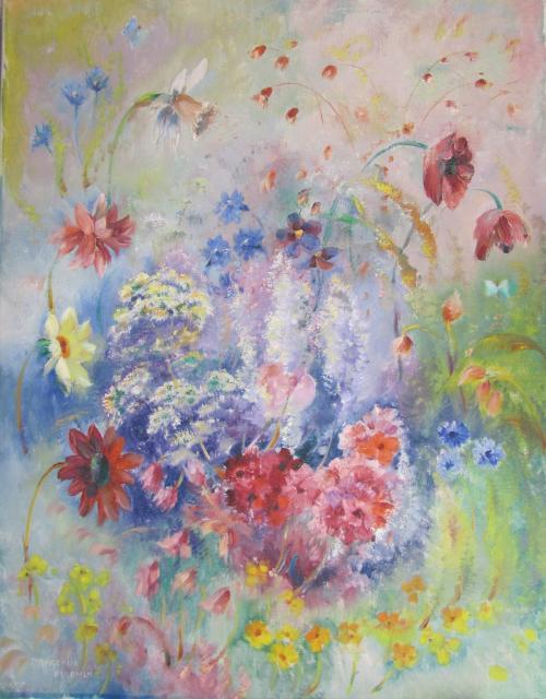 dansende bloemen olieverf nr 26